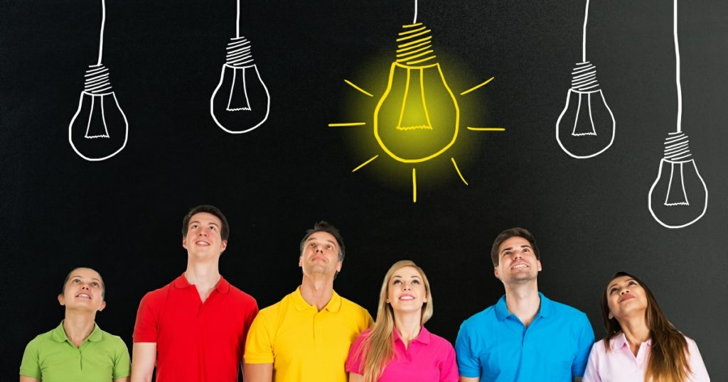 how can counselling help problems banner - people under a lit light bulb